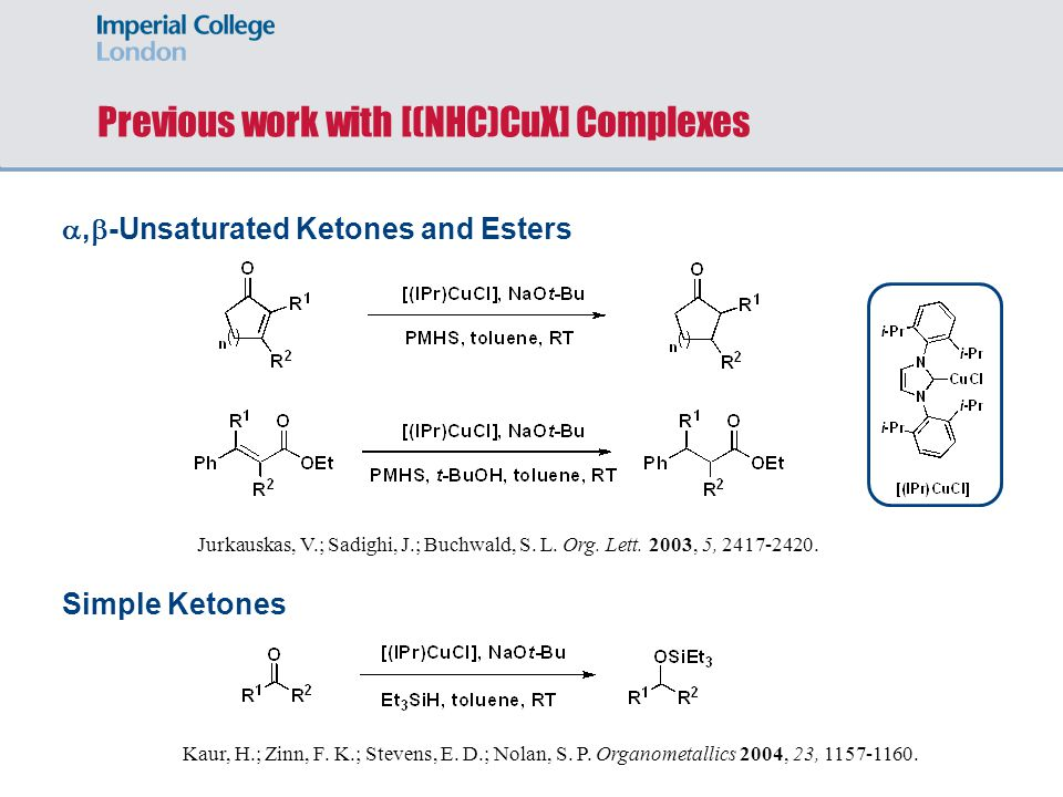 Previous work with [(NHC)CuX] Complexes